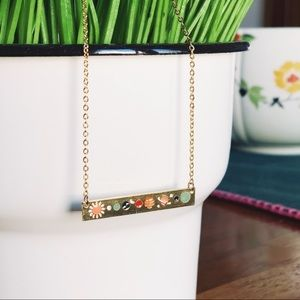 Jewelry - Gold Tone Solar System Lunar Planet Bar Necklace
